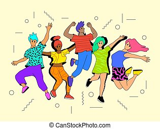 若い人々, 活動的, 幸せ, 跳躍