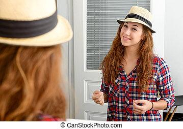 若い女性, ちょっと立ち寄る, a, 鏡