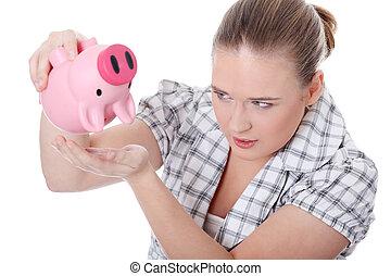 若い女性, つらい, から得なさい, お金, から, 彼女, 小豚