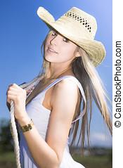若い女性, ∥で∥, カウボーイ帽子