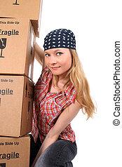 若い女性, ∥で∥, 箱