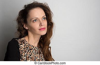 若い女性, ∥で∥, 美しさ, 長い間, 巻き毛の髪