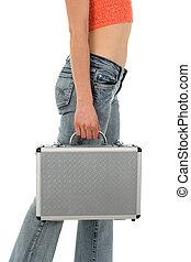 若い女性, ∥で∥, 金属, スーツケース