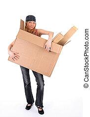若い女性, ∥で∥, a, 大きい, ボール箱