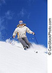 若い女性, スキー