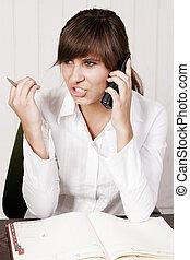若い女性, 上に, a, 電話