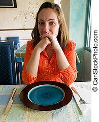 若い女性, 中に, チュニジア, レストラン