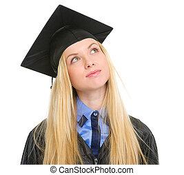 若い女性, 中に, 卒業の ガウン, 調べること, 上に, コピースペース