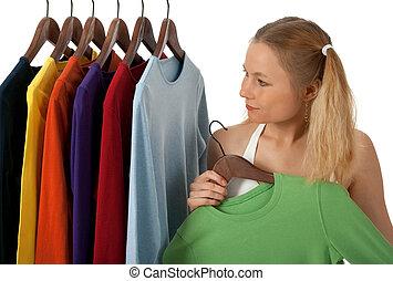 若い女性, 中に, a, 洋服屋