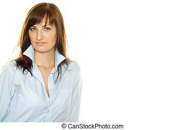 若い女性, 中に, a, man\\\'s, ワイシャツ