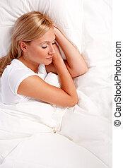 若い女性, 中に, bed.