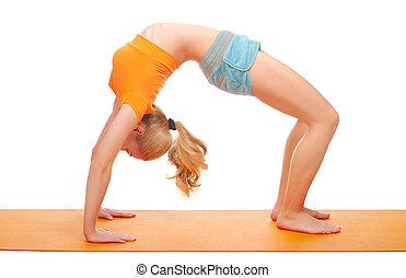 若い女性, 体操, 練習