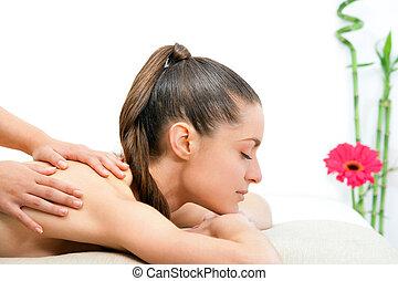 若い女性, 持つこと, 背中, massage.