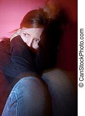 若い女性, 苦しみ, から, a, ひどい, 憂うつ