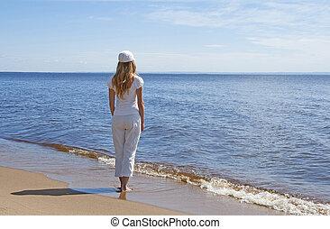 若い女性, ∥見る∥, 水