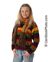 若い女性, 身に着けていること, a, セーター, 手を持つ, 中に, ポケット