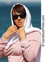 若い婦人, 中に, a, headscarf