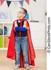 若い少年, 服, の上, ∥ように∥, a, superhero