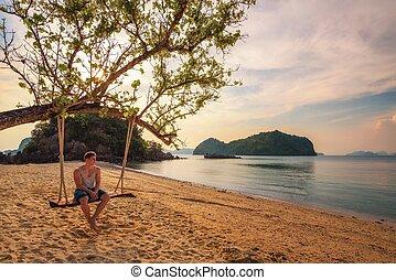 若い少年, 楽しむ, 日没, n, ko, hong, 島, 中に, タイ