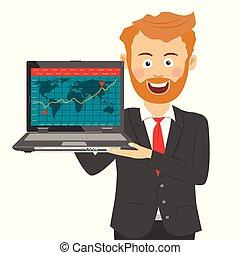 若い, あごひげを生やしている, ビジネスマン, 保有物, ラップトップ, ∥で∥, 株式市場のチャート