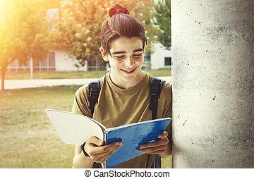 若い, ∥あるいは∥, ノート, 大学生, キャンパス