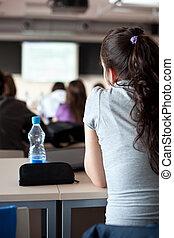 若い, かなり, 女性, 大学生, モデル, 中に, a, 教室, フルである, の, 生徒, の間, クラス