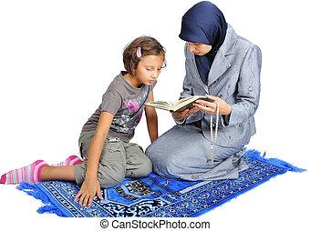 若い, すてきである, muslim, 女性, 教授, 彼女, 娘