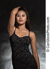 若い, そして, 美しい, フィリピン人, アジア 女性, 中に, 黒