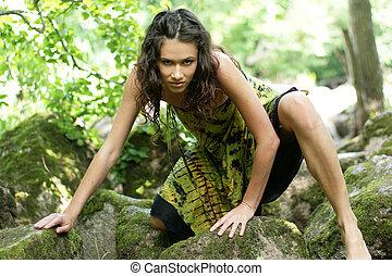 若い, そして, 美しい, 野蛮, 女の子, 中に, ジャングル