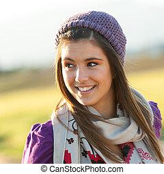 若い, の上, 肖像画, 終わり, 女の子, outdoors.