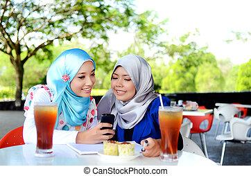 若い, アジア人, muslim, 女, 中に, 頭, sc