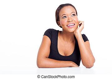 若い, アフリカ, 女性実業家, 空想にふける