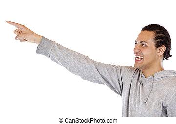 若い, エチオピア, 人間が指さす, ∥で∥, 伸ばしている, 腕, ∥において∥, 広告, スペース