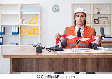 若い, オフィス, マレ, 仕事, 建築家