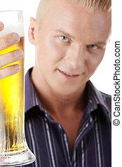若い, ガラス, ビール, 保有物, 幸せ, 人