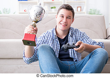 若い, コンピュータゲーム, 家, 遊び, 人