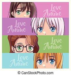 若い, セット, anime, womens