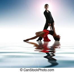 若い, ダンサー, 中に, ラテン語, ダンスの姿勢