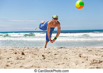 若い, バレーボール, 魅力的, 浜, 遊び, 人