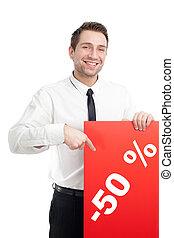 若い, ビジネスマン, ∥で∥, 赤, 空白のサイン, 微笑