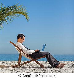 若い, ビジネスマン, 上に, 彼の, 浜の 椅子, 使うこと, 彼の, ラップトップ