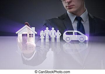 若い, ビジネスマン, 中に, 保険, 概念
