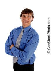 若い, ビジネスマン, 微笑, 隔離された