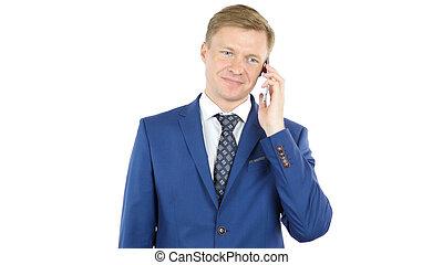 若い, ビジネスマン, 話, 上に, smartphone, 出席, 電話