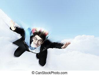 若い, ビジネスマン, 飛行, ∥で∥, パラシュート, 上に, 背中