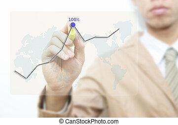 若い, ビジネス男, 図画, グラフ, 上に, ∥, 透明, スクリーン