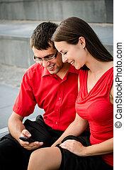 若い, ビジネス 人々, ∥で∥, smartphone