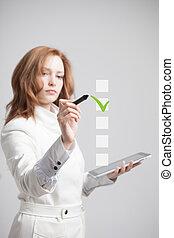 若い, ビジネス 女, 点検, 上に, チェックリスト, box., 灰色, バックグラウンド。