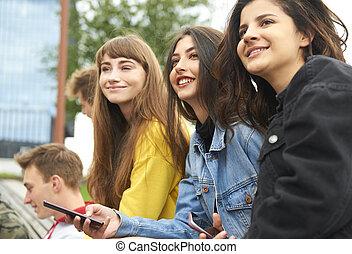 若い, ミーティング, 女性, 3, 都市