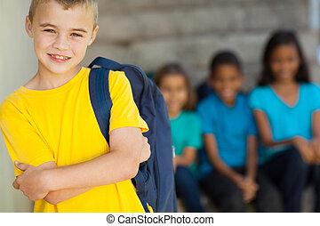 若い, 予備選挙, 男生徒, ∥で∥, 交差する 腕